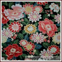 BonEful Fabric FQ Cotton Quilt Black Pink White Gold Metallic Rose Flower Leaf L