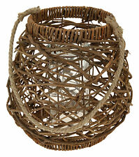 Large Rustic Wicker Hanging Lantern With Rope Candle Holder