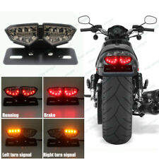 Universal Motorcycle Bike LED Stop Brake License Plate Rear Tail Light Smoke Len