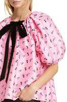 $900 Cecilie Bahnsen Billowy Puff Sleeve Velvet Self Tie Trapeze Top 4 Christine