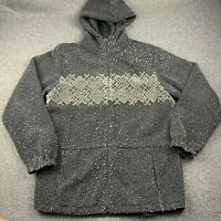 WOOLRICH FLEECE FULL ZIP HOODIE SWEATSHIRT SZ WOMEN MEDIUM EUC SNOWFLAKE PATTERN