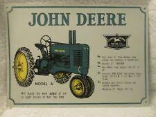 John Deere Model A Tractor Tin Shop Sign