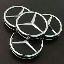 4x75mm Black Matte Wheel Center Caps For Mercedes Benz Hubcaps Rim Caps Emblems