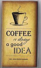 COFFEE 2017-2018 2 YEAR POCKET PURSE CALENDAR AGENDA PLANNER APPOINTMENT BOOK