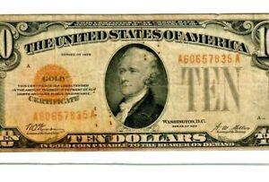 """$10 """"GOLD CERTIFICATE"""" 1928  $10 """"GOLD CERTIFICATE"""" $10 1928 RARE NOTE!! """"GOLD""""!"""