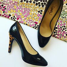 YSL shoes Vintage Patent Leather Pumps Ponyskin Heels by Yves Saint Laurent 38