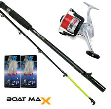 1 x Boat Fishing Rod & Reel mackerel Sea Fishing kit + Feathers & Line NGT yo
