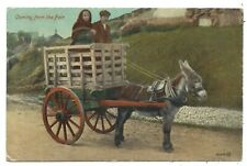 IRELAND - COMING FROM THE FAIR Valentines (Dublin) Postcard DONKEY CART