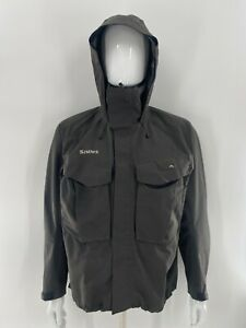 Simms Gore-tex Wading Jacket With Simms Nippers Gray Nylon Men's Size Large L