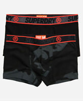 Superdry Mens New Double Pack Trunks Boxer Shorts Underwear Black Camo