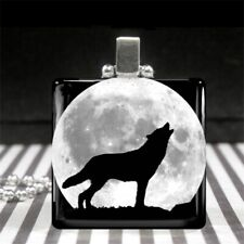 Wolf Howling at the Moon Necklace Silver Glass Animal Charm Jewelry Black White