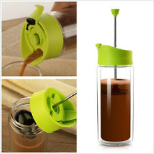 French Press Tea Maker double wall glass travel cup Insulated coffee mug 450ml