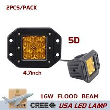2X 16W Flood CREE LED Pod Light Flush Mount Driving Work Fog Light 5D Len Yellow