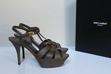New 8.5 / 39 YSL Yves Saint Laurent Tribute Olive Leather Platform Sandal Shoes