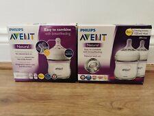 2x Philips Avent Natural Newborn Feeding Bottle 4 x 125 ml-Transparent New