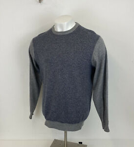 Lochmere 100% Cashmere Jumper Grey & Blue Sz XL Mens