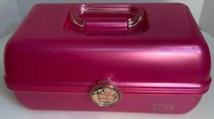 Vintage Caboodles Train Case Hot  Pink Travel Organizer Jewelry Makeup 80s?
