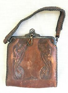 Antique Art Nouveau/Art Deco Hand Tooled Leather Purse/Handbag - Jemco