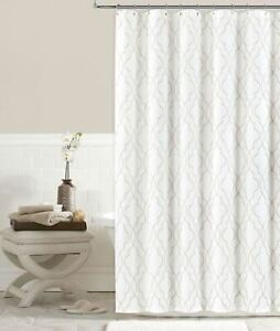 Colordrift Brianna Fret 72-Inch x 72-Inch Shower Curtain in Ivory Embroidered