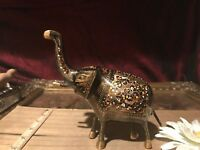 Vintage Brass Elephant Black Etched w/Yellow, Red & White Dots 5 3/4""