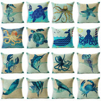Retro Sea Animal Throw Pillow Case Cotton Linen Sofa Cushion Cover Home Decor