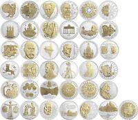 BRD 10 DM Münzen 1987 bis 2001 Sonderausgabe mit Gold-Applikation in Münzkapsel