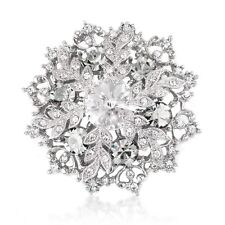 Vintage Style White Winter Snowflake Elegant Shiny Diamante Brooch Pin BR403