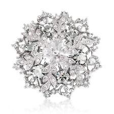 Vintage Style White Winter Snowflake Elegant Shiny Diamante Brooch Pin BR403