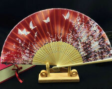 New Chinese Japanese Red Hand Held Bamboo Silk Butterfly & Flower Folding Fan