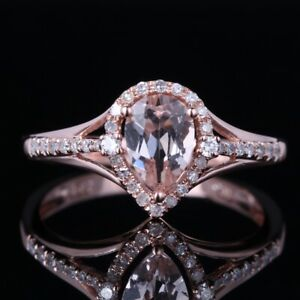 10K Rose Gold 0.7ct Pear Morganite&Diamonds Charming Elegant Ladies Wedding Ring