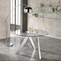 Tavolo tondo Rondo' con gambe in metallo o acciaio e piano in vetro temperato