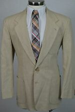 (39R) Men's Brown Khaki Classic Linen Cotton Blend Blazer Sport Coat Jacket