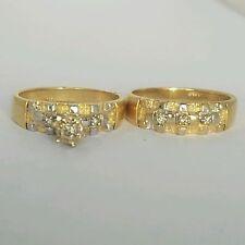 2 pc Woman's 14k Yellow Gold Round Diamond Engagement Wedding band Ring Set S 6