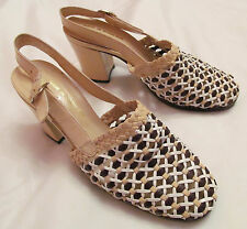 vintage Jacobson'S woven tan and brown leather ankle strap heels shoes 5.5 M