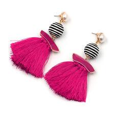 """NEW Beautiful TreadBall Tassel Enamel Pierced Earrings Hot Pink Goldtone 3.5"""""""