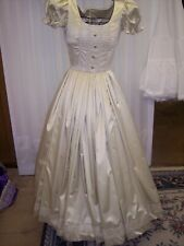 Civil War/Victorian Ballgown of Champagne Satin with Gold Fleck Ivory Lace trim