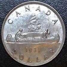 CANADIAN GEM 1937 - $1 DOLLAR - .800 SILVER - George VI - Voyageur - High Grade
