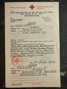 1942 Jerusalem Palestine Red Cross Inquiry Miklos Berger Budapest Hungary