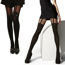 NEW Women Sexy Cute Stockings Pantyhose Tattoo Mock Bow Suspender Sheer Tights