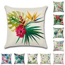 "UK 18"" Flower Leaf Cotton Linen Cushion Cover Throw Pillow Case Sofa Home Decor"