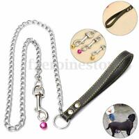 New Heavy Metal Chain Pet Dog Lead Leash With Leather Handle for Walking  🔥
