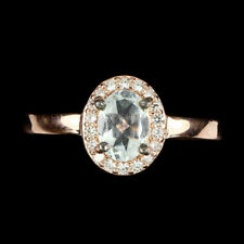 Top Aquamarine anillo: natural Aqua azul aguamarina anillo talla 17,25 plata r246