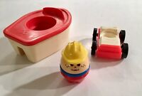 Vintage Fisher Price Little People Red boat Plus Little Person Plus Car Lot of 3