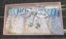 Jamie Lynn Wedding Bride Bridal Lace Garter Blue Satin Embroidered Flowers- NEW