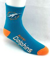 Miami Dolphins Football  Deuce Quarter Socks Turquoise with Orange