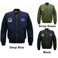 US Men's Thin Jacket NASA Spring MA1 Flight Bomber Coat Baseball Outwear Parka