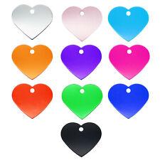 10 pcs Metal Tags Blank Heart Shaped Cat Dog Name ID Tag Collar Charm 37x33mm