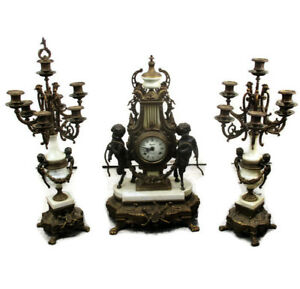 3 Piece Garniture Mantle Set Clock Candelabras French Regnant Paris Cherubs