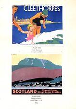 1933.Miniature poster prints.Cleethorpes.Scotland.Frank Newbould.Art.Advert