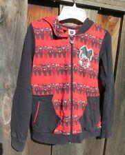AZONA Curiosity Kills the Cat Red Black Pussy Ears Hoodie Zip Front Sweatshirt M